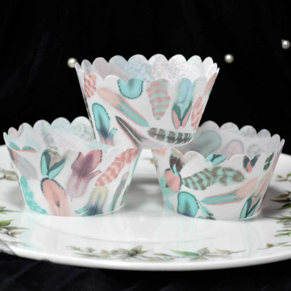 Wickstead's-Eat-Me-100%-Edible-Cupcake-Wrappers-from-our-Cotton-Candy-Boho-Feather-Collection-(1)