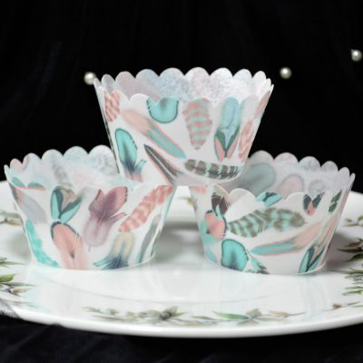 Wickstead's Eat Me 100% Edible Cupcake Wrappers Cotton Candy Boho Feather Chintz