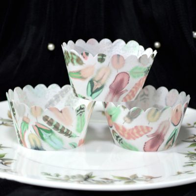 Wickstead's-Eat-Me-100%-Edible-Cupcake-Wrappers-from-our-Green-Tea-Rose-Boho-Feather-Collection