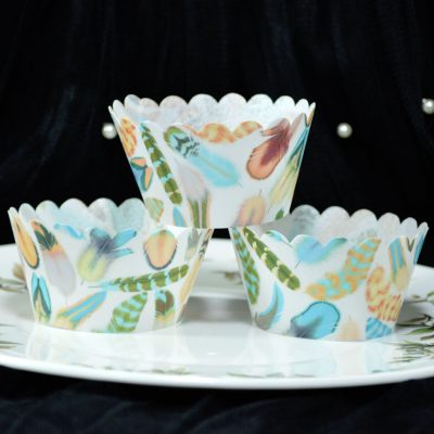 Wickstead's-Eat-Me-100%-Edible-Cupcake-Wrappers-from-our-Mango-Maya-Boho-Feather-Collection