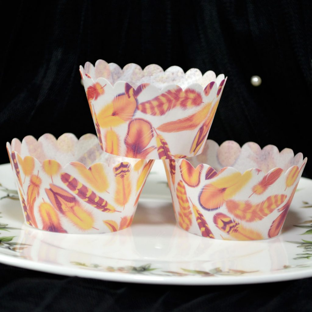 Wickstead's-Eat-Me-100%-Edible-Cupcake-Wrappers-from-our-Mango-Tango-Boho-Feather-Collection
