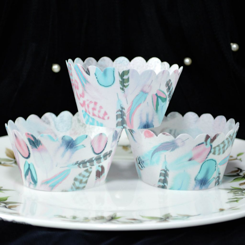 Wickstead's-Eat-Me-100%-Edible-Cupcake-Wrappers-from-our-Persian-Azure-Boho-Feather-Collection