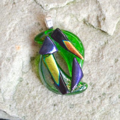 Wickstead's-AW-Designs-UK-Abstract-Bottle-Green-Dichroic-Glass-Pendant-(1)
