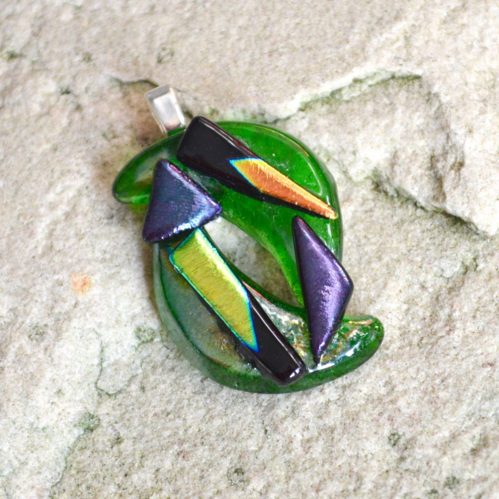 Wickstead's-AW-Designs-UK-Abstract-Bottle-Green-Dichroic-Glass-Pendant-(3)