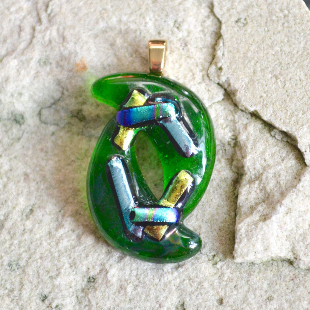 Wickstead's-AW-Designs-UK-Abstract-Bottle-Green-Metallic-Dichroic-Glass-Pendant-(1)