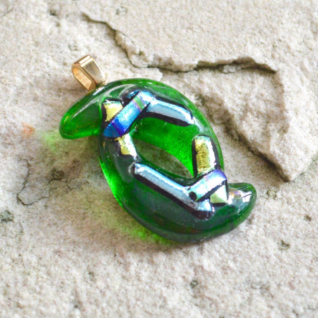 Wickstead's-AW-Designs-UK-Abstract-Bottle-Green-Metallic-Dichroic-Glass-Pendant-(4)