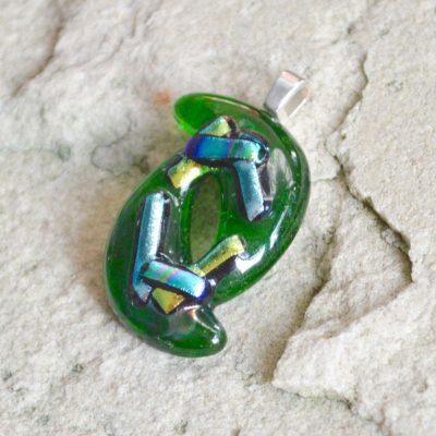 Wicksteads AWDesignsUK Abstract Bottle Green Blue Metallic Dichroic Glass Pendant