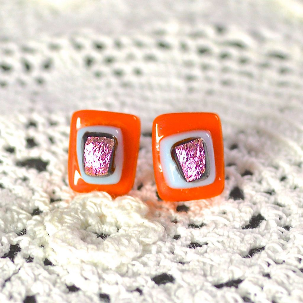 Wicksteads AWDesignsUK Orange Pink Dichroic Glass Sterling Silver Stud Earrings