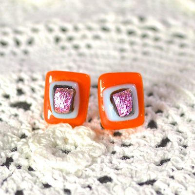 Wicksteads AWDesignsUK Orange Pink Dichroic Glass Sterling Silver Stud Earrings