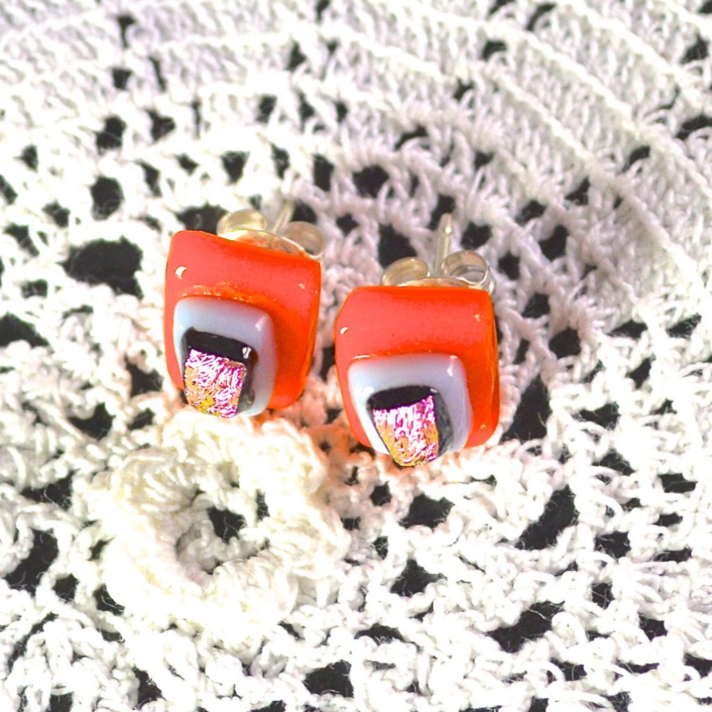 Wickstead's-AW-Designs-UK-Bright-Orange-Pink-Sterling-Silver-Dichroic-Glass-Stud-Earrings-(2)