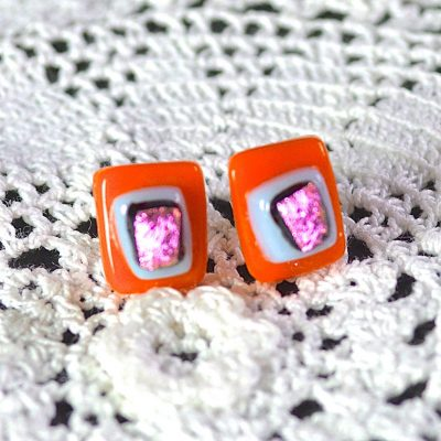 Wickstead's-AW-Designs-UK-Bright-Orange-Pink-Sterling-Silver-Dichroic-Glass-Stud-Earrings-(3)