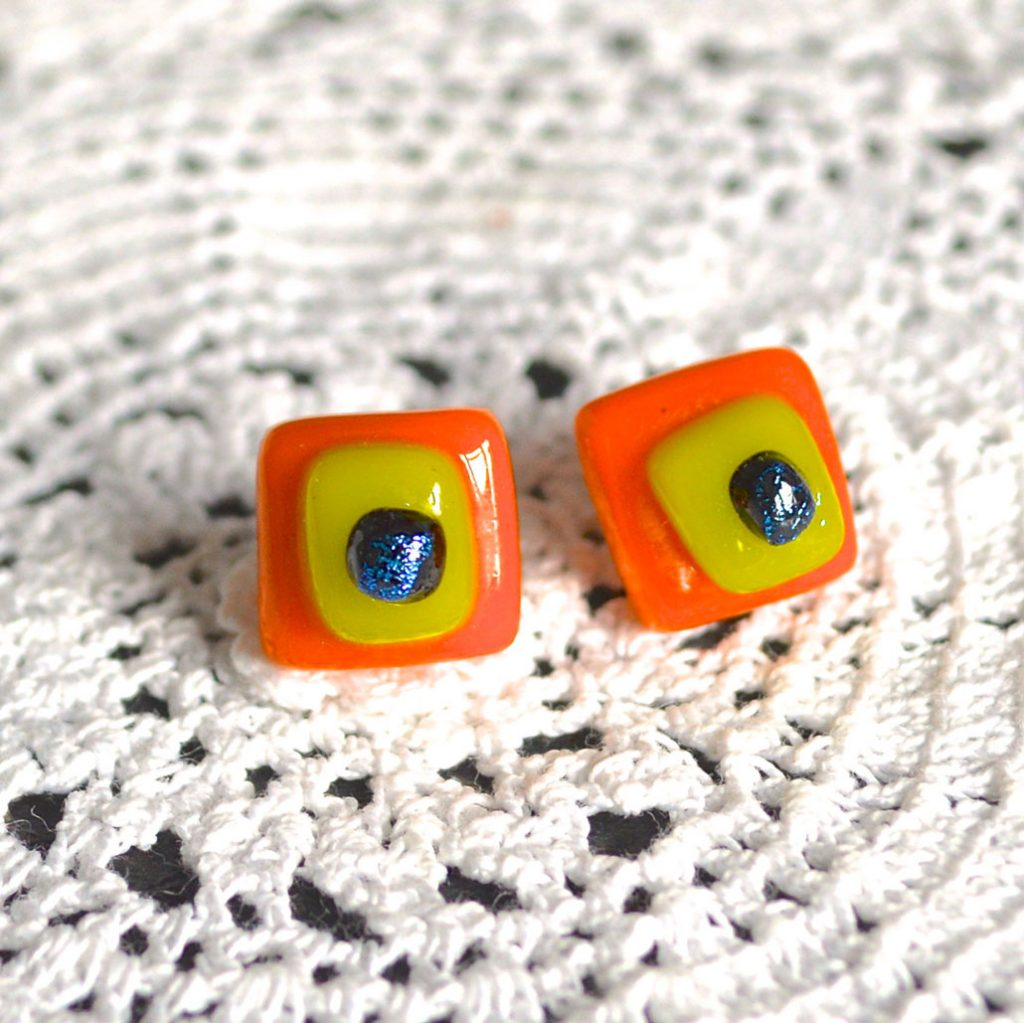 Wickstead's-AW-Designs-UK-Bright-Orange-Yellow-Sterling-Silver-Dichroic-Glass-Stud-Earrings-(2)