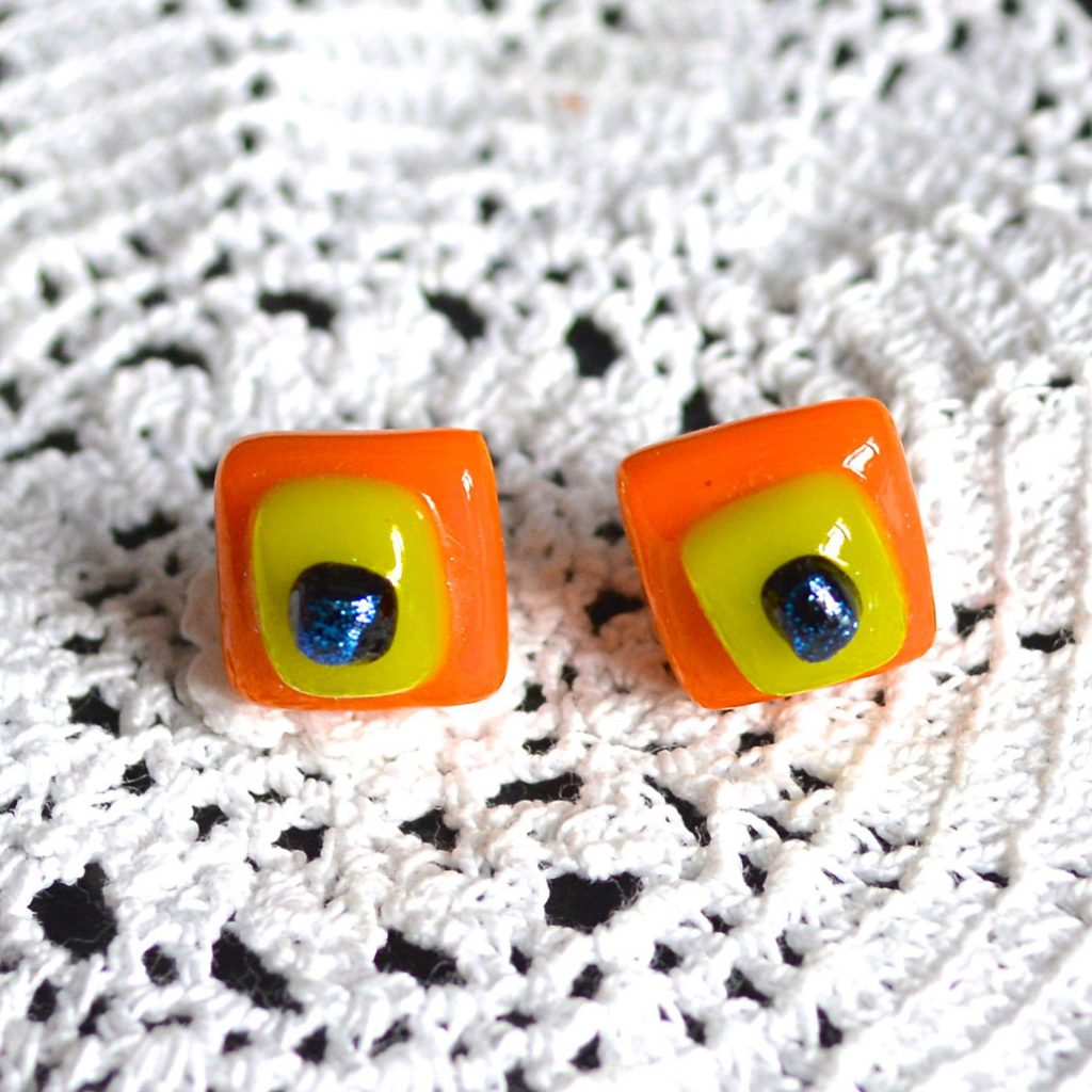 Wickstead's-AW-Designs-UK-Bright-Orange-Yellow-Sterling-Silver-Dichroic-Glass-Stud-Earrings-(3)