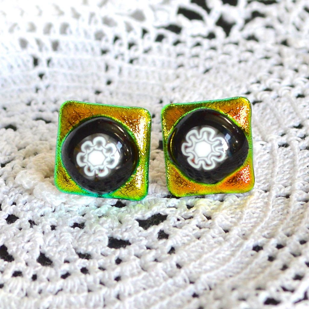 Wicksteads AWDesignsUK Golden Lime Dichroic Glass Stud Earrings