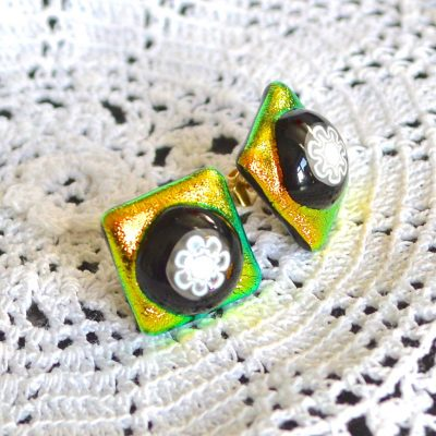 Wickstead's-AW-Designs-UK-Golden-Lime-Dichroic-Glass-Stud-Earrings-(2)
