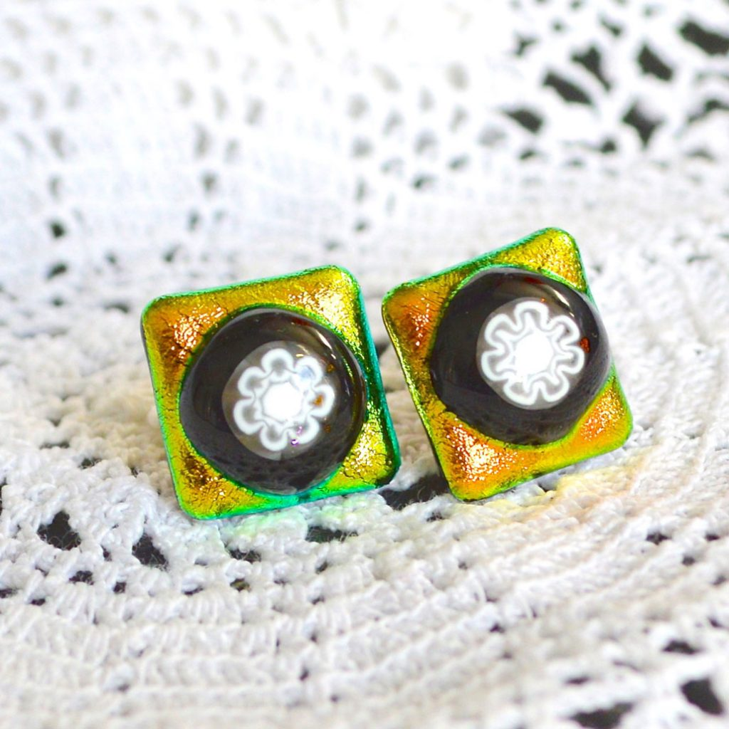 Wickstead's-AW-Designs-UK-Golden-Lime-Dichroic-Glass-Stud-Earrings-(3)