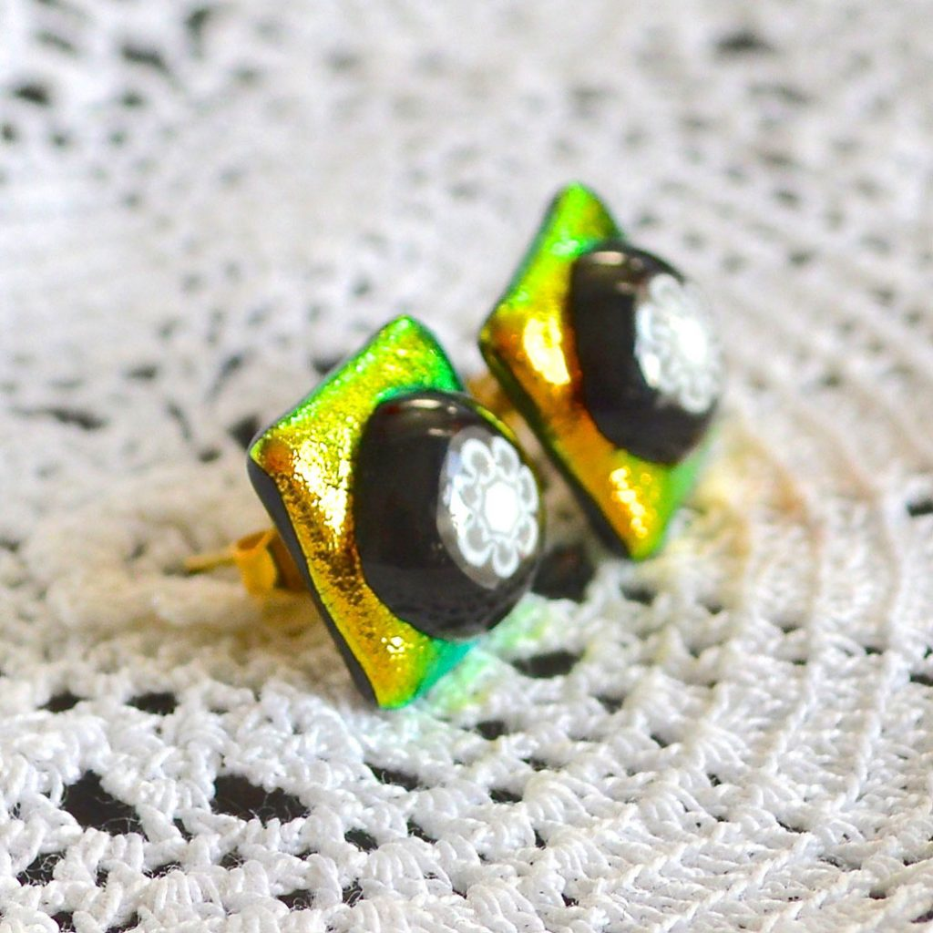 Wickstead's-AW-Designs-UK-Golden-Lime-Dichroic-Glass-Stud-Earrings-(4)