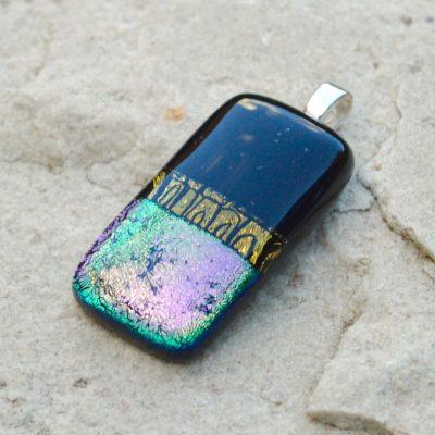 Wickstead's-AW-Designs-UK-Iridescent-Black-Gold-Pastel-Purple-Dichroic-Glass-Pendant-(4)