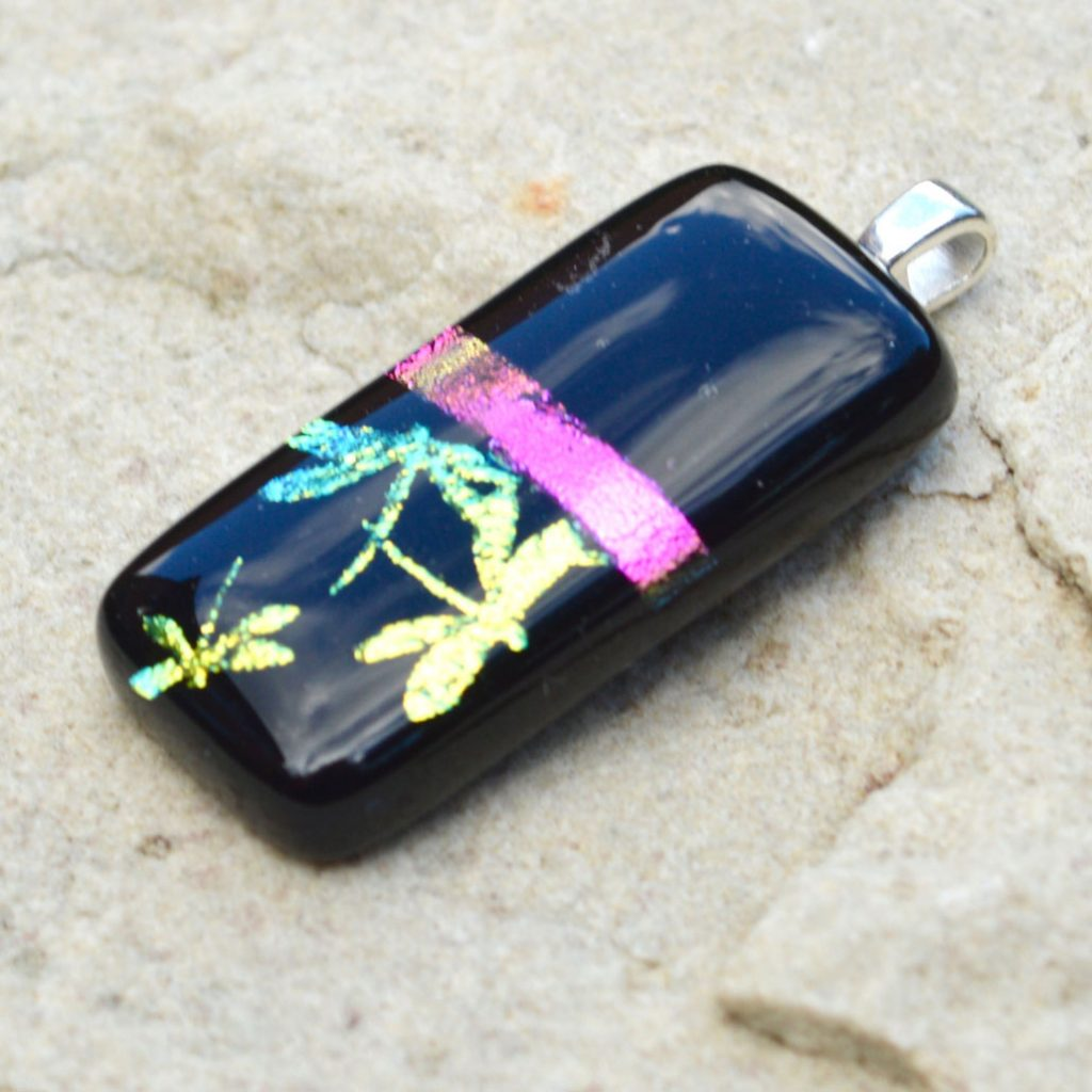 Wicksteads AWDesignsUK Iridescent Black Purple Dragon Fly Dichroic Glass Pendant