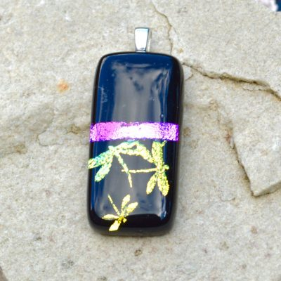 Wickstead's-AW-Designs-UK-Iridescent-Black-Purple-Dragon-Fly-Dichroic-Glass-Pendant-(3)