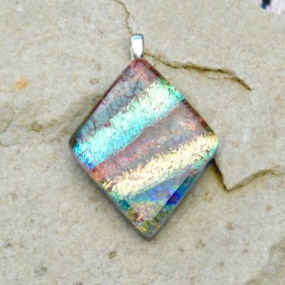 Wicksteads AWDesignsUK Iridescent Multi-Coloured Diamond Dichroic Glass Pendant