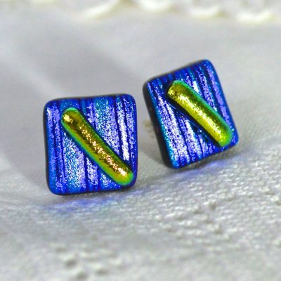 Wicksteads AWDesignsUK Blue Lime Dichroic Glass Sterling Silver Stud Earrings