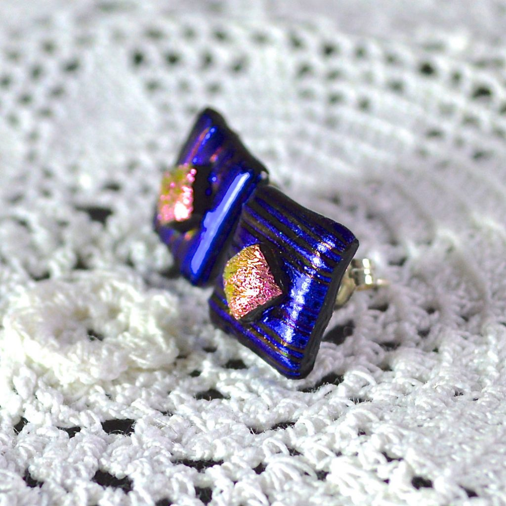 Wickstead's-AW-Designs-UK-Metallic-Blue-Sterling-Silver-Dichroic-Glass-Stud-Earrings-(3)