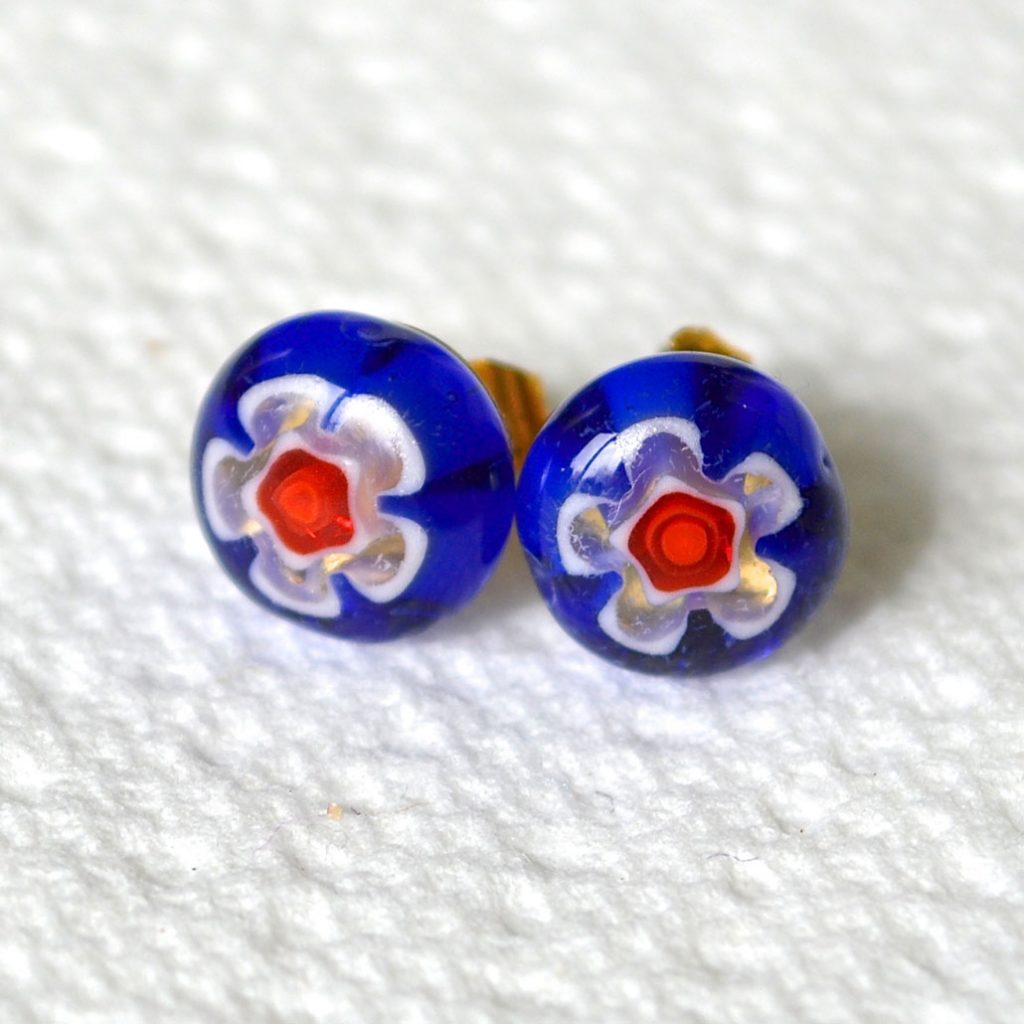 Wickstead's-AW-Designs-UK-Millefiori-Blue-Glass-Stud-Earrings-(1)