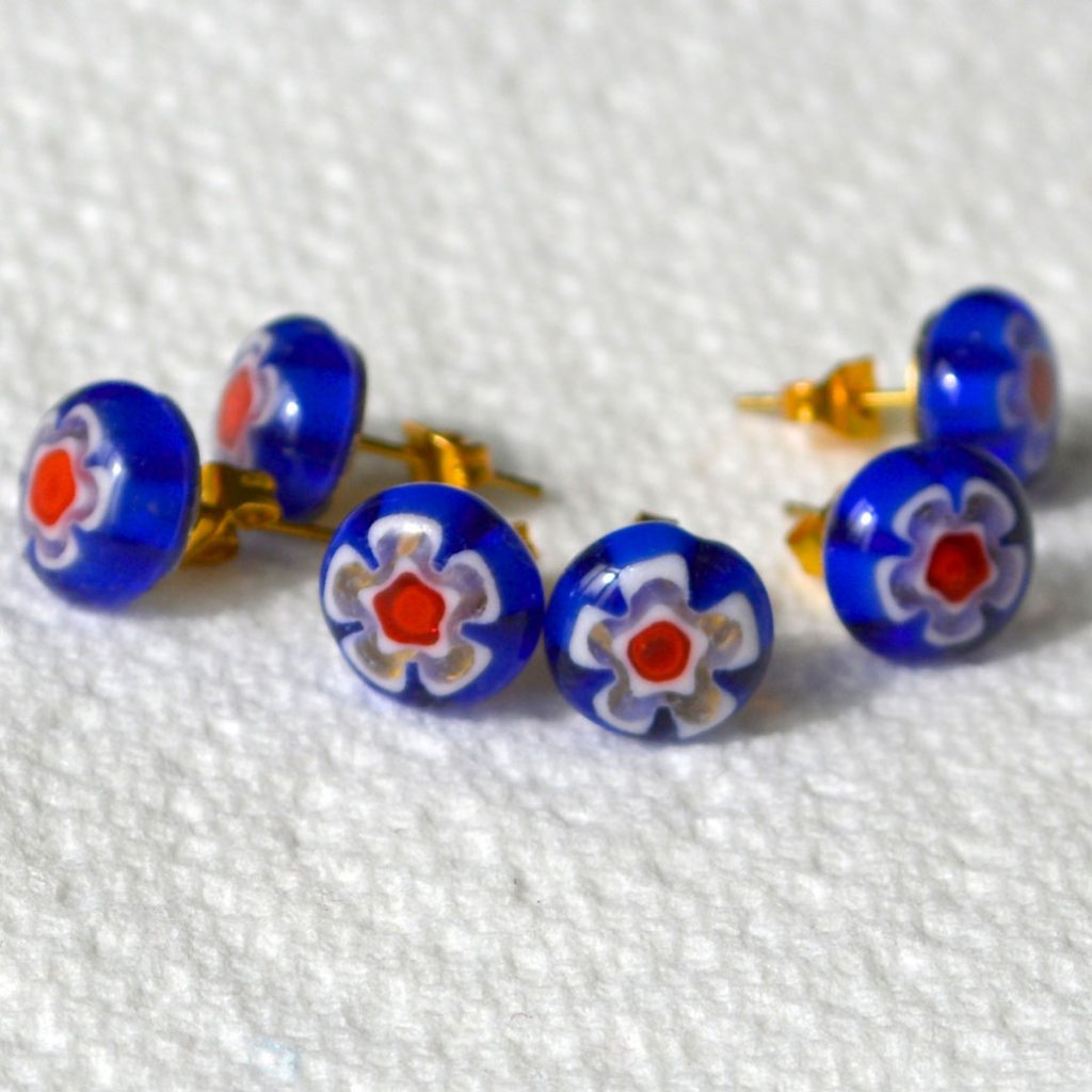 Wickstead's-AW-Designs-UK-Millefiori-Blue-Glass-Stud-Earrings-(3)