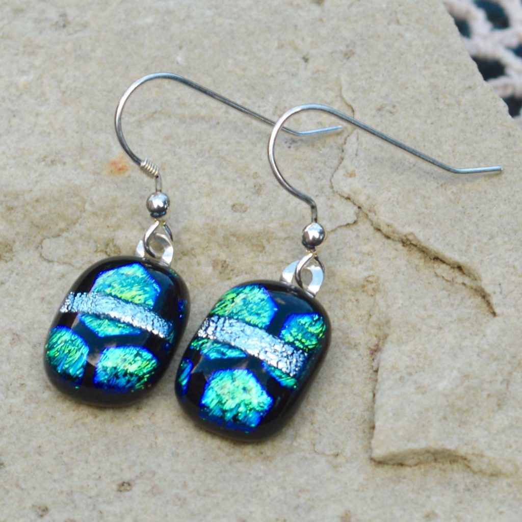 Wickstead's-AW-Designs-UK-Ocean-Blue-Greens-Sterling-Silver-Dichroic-Glass-Drop-Earrings-(3)