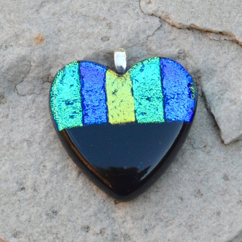 Wicksteads AWDesignsUK Ocean Blue Black Heart Dichroic Glass Pendant