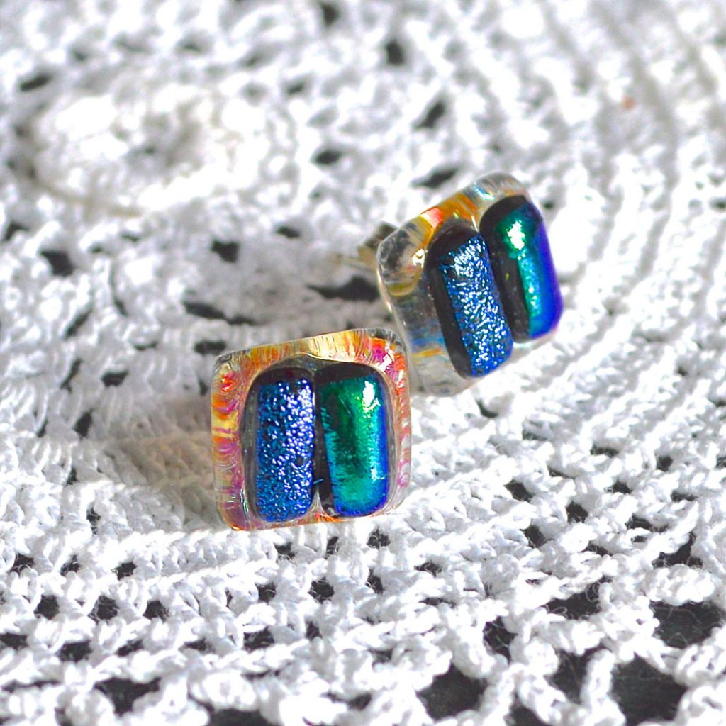 Wickstead's-AW-Designs-UK-Ocean-Turquoise-Sterling-Silver-Dichroic Glass Stud-Earrings-(1)