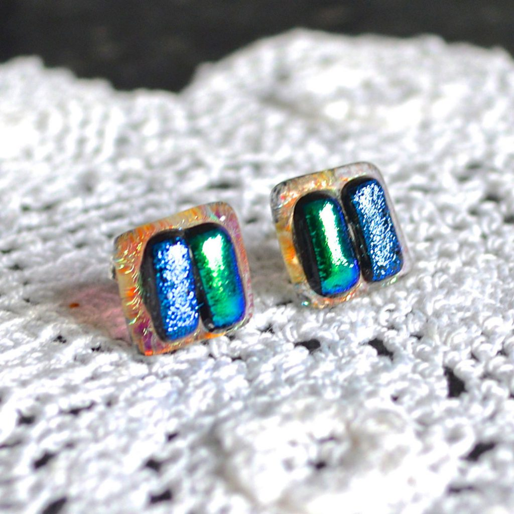 Wicksteads AWDesignsUK Ocean Turquoise Dichroic Glass Sterling Silver Stud Earrings