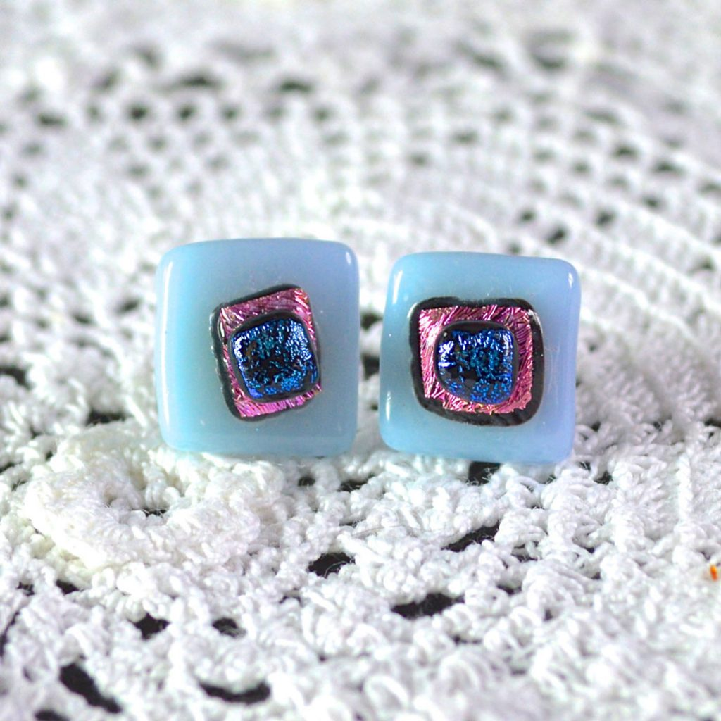 Wicksteads AWDesignsUK Pastel Blue Pink Dichroic Glass Sterling Silver Stud Earrings