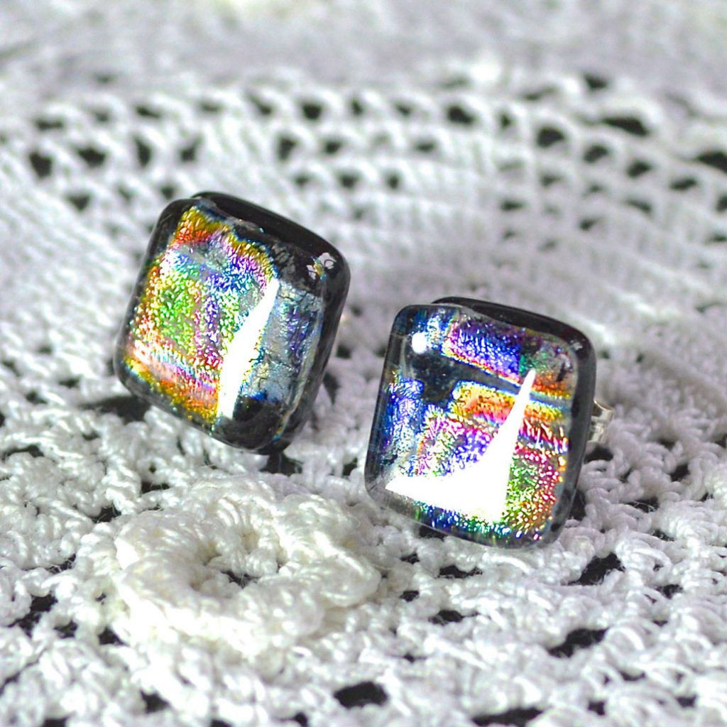 Wicksteads AWDesignsUK Metallic Rainbow Dichroic Glass Sterling Silver Stud Earrings