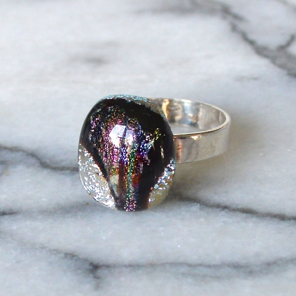Wicksteads AWDesignsUK Silver Black & Plum Metallic Sterling Silver Dichroic Glass Ring