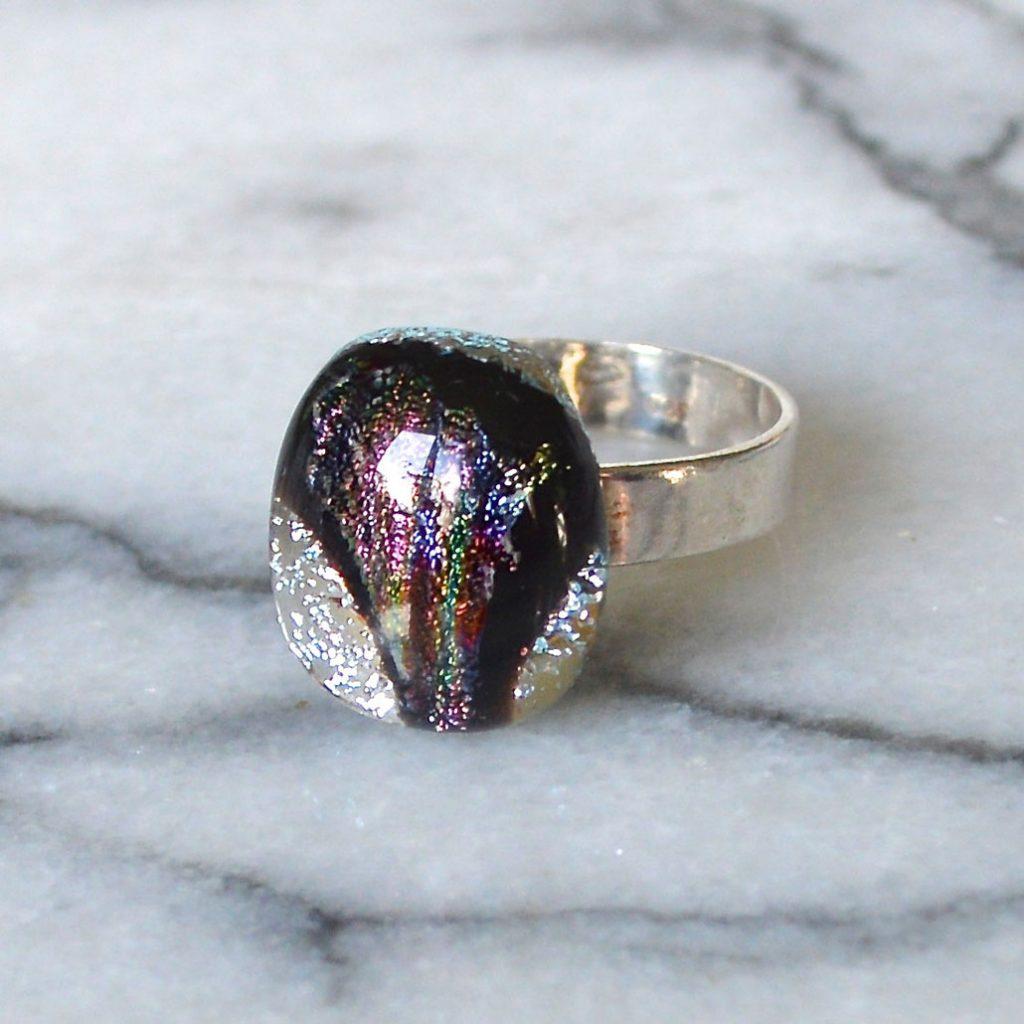 Wickstead's-AW-Designs-UK-Silver-Metallic-Black-Plum-Dichroic-Glass-Ring-(1)