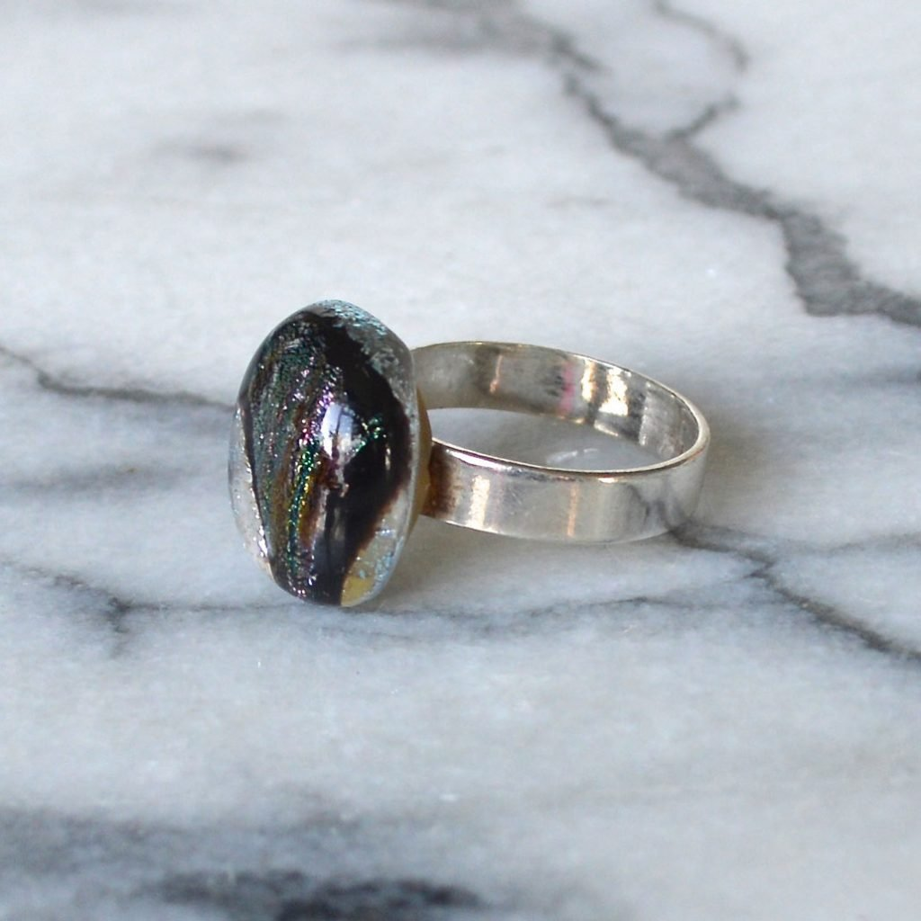 Wickstead's-AW-Designs-UK-Silver-Metallic-Black-Plum-Dichroic-Glass-Ring-(2)