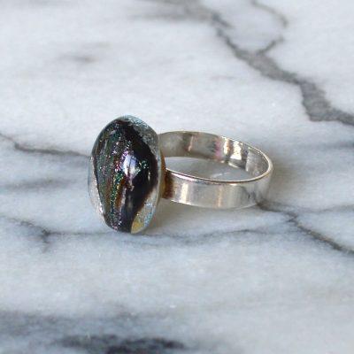 Wickstead's-AW-Designs-UK-Silver-Metallic-Black-Plum-Dichroic-Glass-Ring-(2)