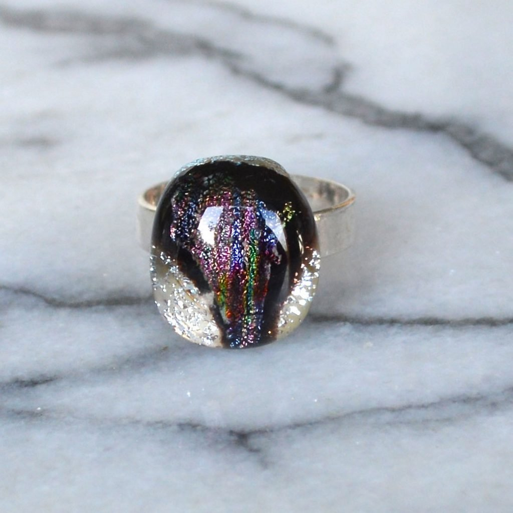 Wickstead's-AW-Designs-UK-Silver-Metallic-Black-Plum-Dichroic-Glass-Ring-(4)