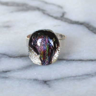 Wickstead's-AW-Designs-UK-Silver-Metallic-Black-Plum-Dichroic-Glass-Ring-(4)