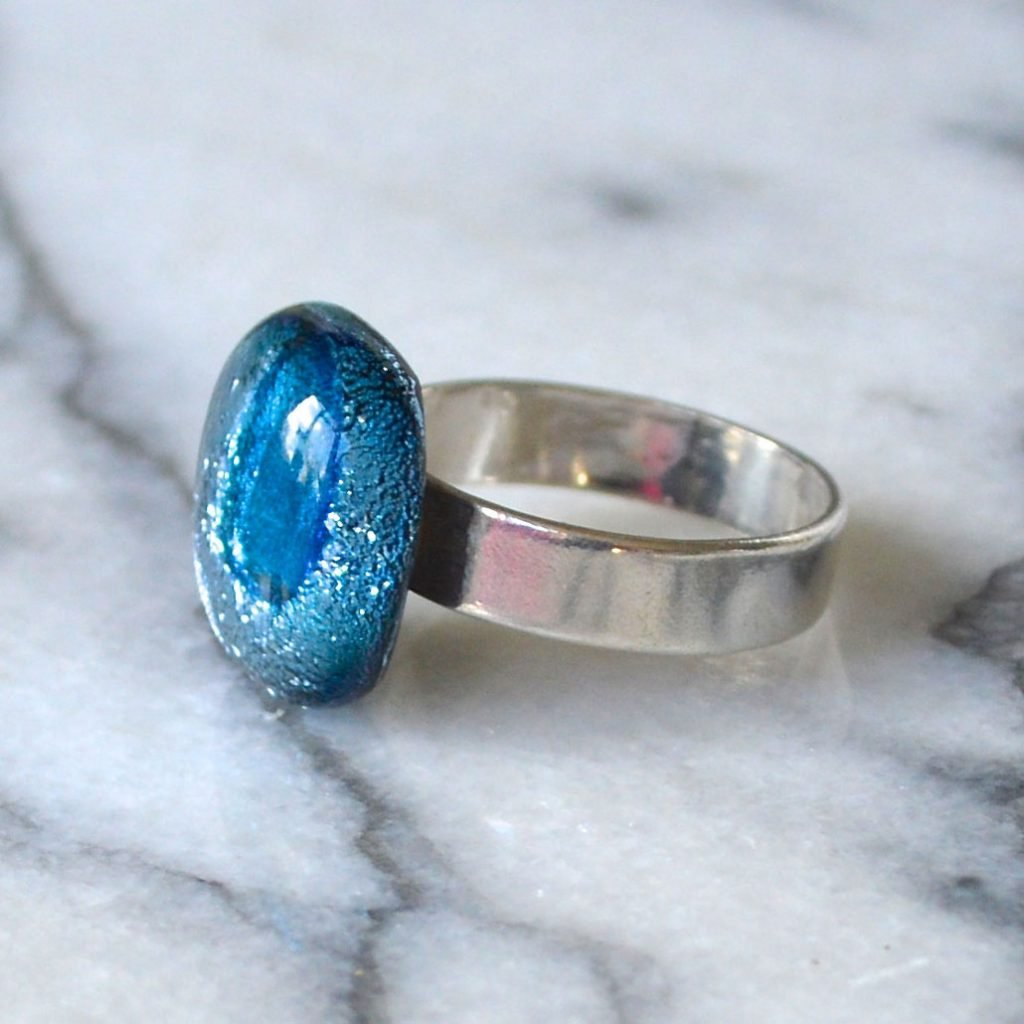 Wickstead's-AW-Designs-UK-Silver-Metallic-Blue-Dichroic-Glass-Ring-(2)