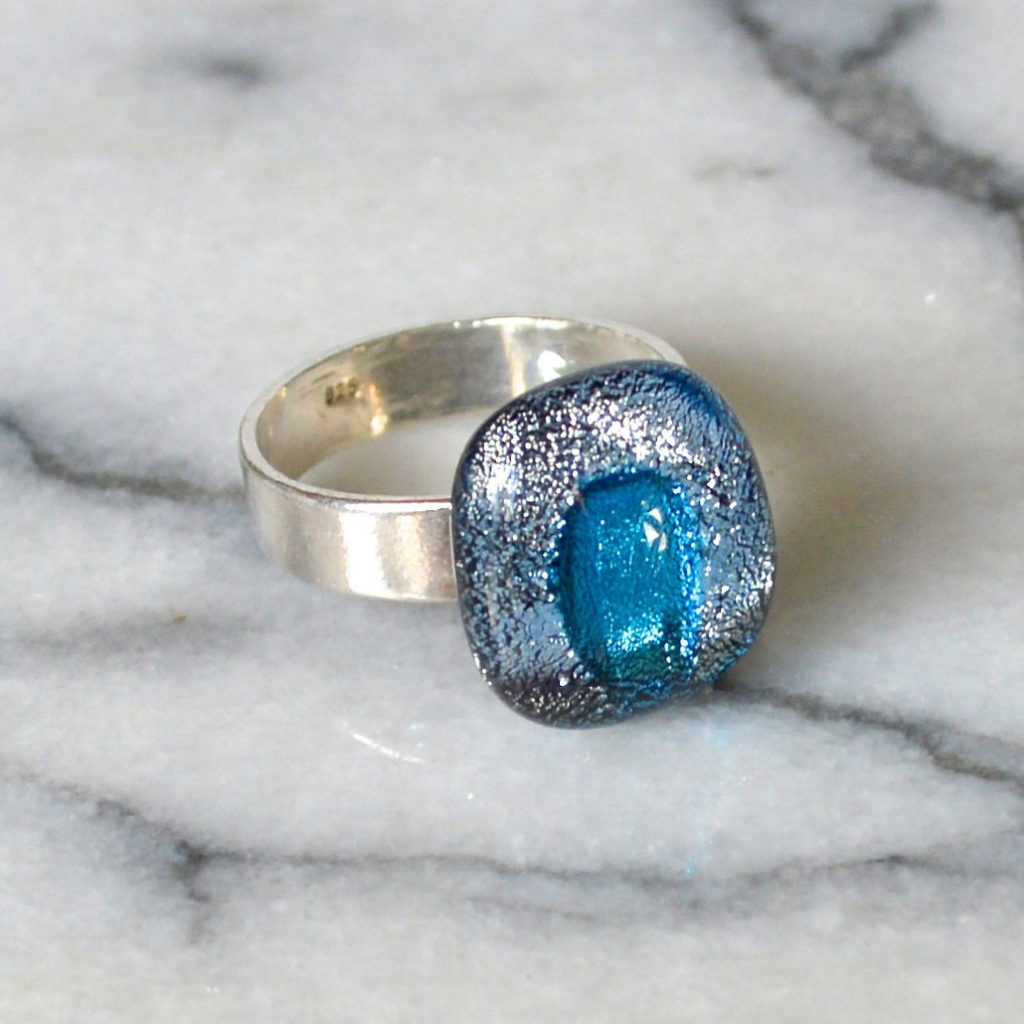 Wickstead's-AW-Designs-UK-Silver-Metallic-Blue-Dichroic-Glass-Ring-(3)