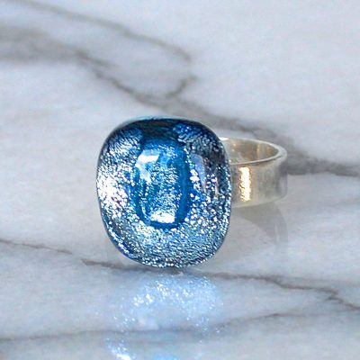 Wickstead's-AW-Designs-UK-Silver-Metallic-Blue-Dichroic-Glass-Ring-(4)
