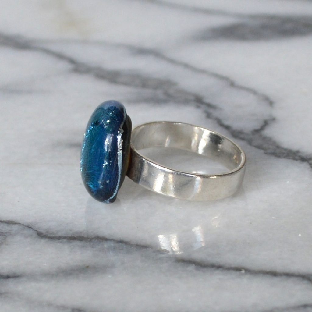 Wickstead's-AW-Designs-UK-Silver-Metallic-Blue-Dichroic-Glass-Ring-(5)