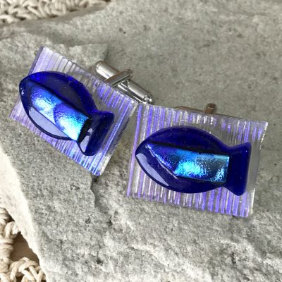 Wicksteads AWDesignsUK Blue Fish Dichroic Glass Cufflinks