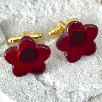 Wickstead's-AWDesigns-Deep-Red-Flower-Fused-Glass-Cufflinks-(2)