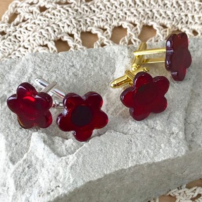Wickstead's-AWDesigns-Deep-Red-Flower-Fused-Glass-Cufflinks-(8)