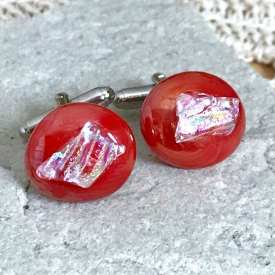 Wicksteads AWDesignsUK Red Pearlescent Dichroic Glass Cufflinks