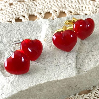 Wicksteads AWDesigns UK Red Heart Glass Cufflinks